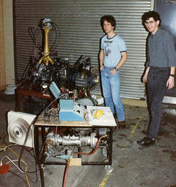 Matt Crossley and an unidentified undergrad with the dynamoeter setup